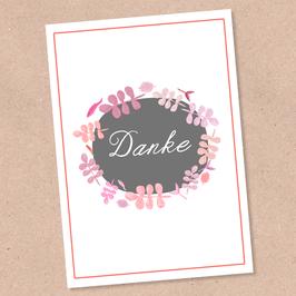 Postkarte -Danke Blätterkranz-