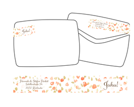 WrapAround Etiketten -Blumen orange-