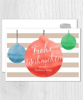 Postkarte -Weihnachtskugeln- individualisierbar