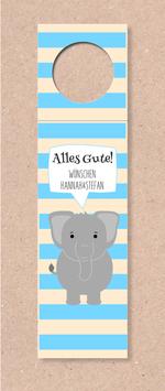 Flaschenanhänger -Elefant- individualisierbar