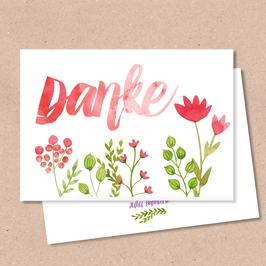 Klappkarte -Danke Blumen-