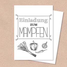 Klappkarte -Einladung Mampfen-