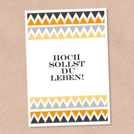 Postkarte -Hoch Leben-