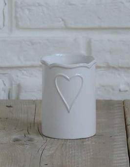 Porta spazzolini da denti in ceramica con decoro cuore