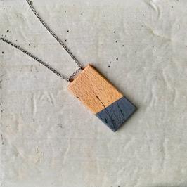 Pendentif minimaliste rectangle en bois canadien (hêtre), corde ou chaîne à votre choix