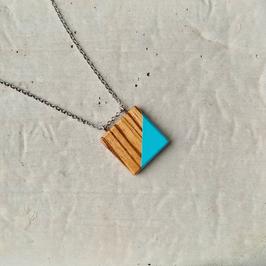 Pendentif minimaliste carré en bois exotique, Zébrano, corde ou chaîne à votre choix