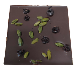 Tablette chocolat noir - Cerises et pistaches