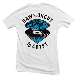 DJ CRYPT – RAW AND UNCUT  Tee (white)