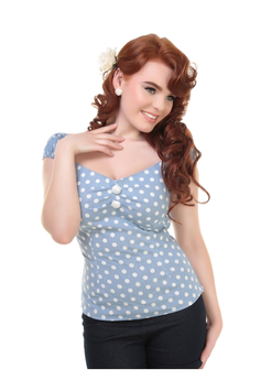 Collectif Top Dolores Polka rauchblau