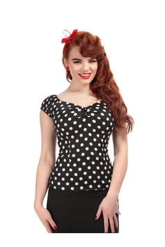 Collectif Top Dolores Polka schwarz