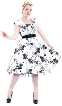 Hearts & Roses Kleid White Black Flowers