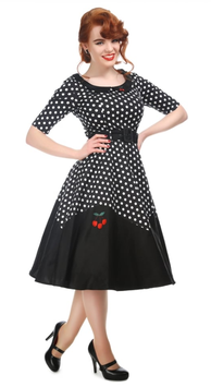 Collectif Kleid Cherry Polka Dot Doll schwarz