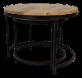 Set van 2 ronde salontafel industrieel