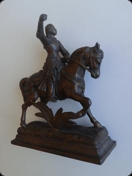 Jeanne d'Arc cavalière patine bronze
