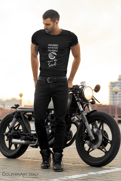 Shirt 'FOUR WHEELS MOVE THE BODY TWO WHEELS MOVE THE SOUL'