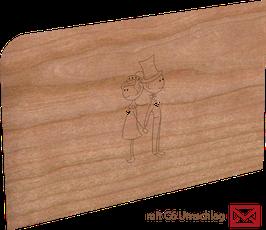 Holzkarte mit Umschlag Hochzeitspaar