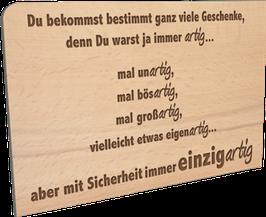 Holzpostkarte artig