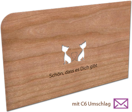 Holzkarte mit Umschlag Katzen