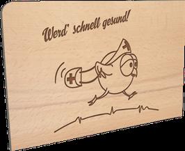 Holzpostkarte Schnell gesund