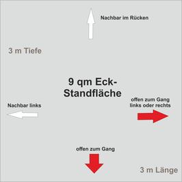 9 qm Eck-Standfläche (3 m x 3 m )