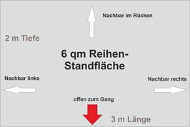 6 qm Reihen-Standfläche (3 m x 2 m )