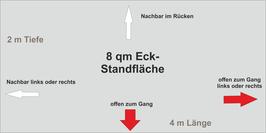 8 qm Eck-Standfläche (4 m x 2 m )