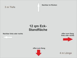 12 qm Eck-Standfläche (4 m x 3 m )