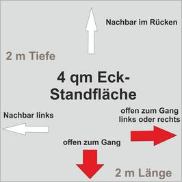 4 qm Eck-Standfläche (2 m x 2 m )