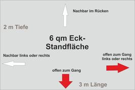 6 qm Eck-Standfläche (3 m x 2 m )
