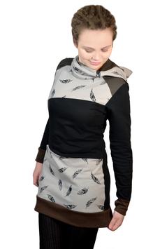 Das NÄHPAKET Hoodie Kleid / Louise schwarz, braun Federn