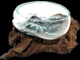 Glasschale mundgeblasen auf Teakwurzelholz Durchmesser 13 cm