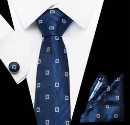 Stropdasset Blauw met patroon.