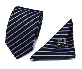 Stropdasset Blauw & lichte streep.