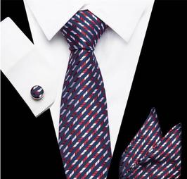Stropdasset  Blauw/rood/wit striped.