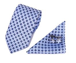 Stropdasset Blauw & lichtblauw patroon.