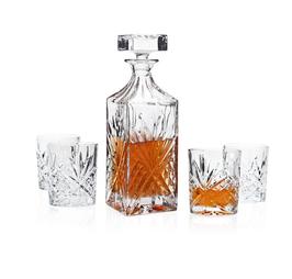 Whiskey set. 1 Karaaf & 4 glazen.