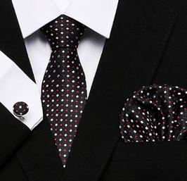 Stropdasset Zwart wit/rood stip.
