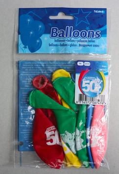 Ballonnen leeftijd '50 Abraham', 8x 30 cm