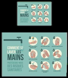 Affiche adhésive Lavage des mains