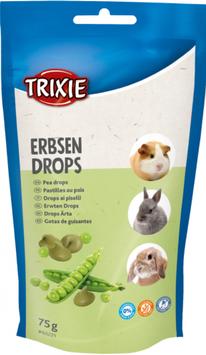 TRIXIE Erbsen Drops, 75 g, für Kaninchen, Kleinnager (100g / 1,45€)