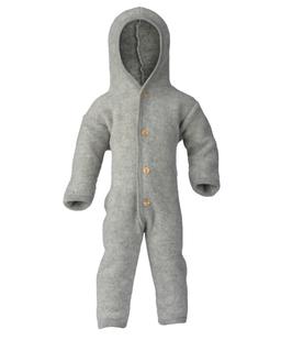 ENGEL Combinaison bébé à capuche laine polaire, gris chiné