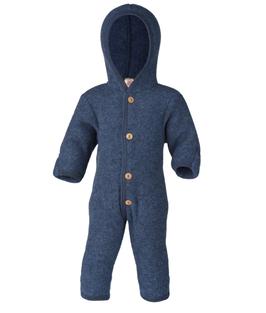 ENGEL Combinaison bébé à capuche laine polaire, bleu chiné