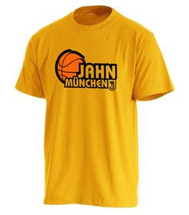 T-Shirt Yellow mit TS Jahn Basketball Logo und Spielernamen