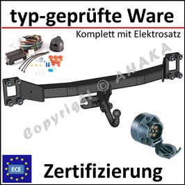 VW Touareg Bj. 2002- Anhängerkupplung starr mit geschraubtem Kugelkopf - mit Elektrosatz 7 polig