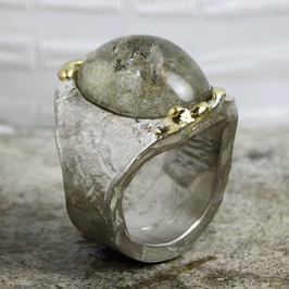 Rustikaler Silberring mit Gold