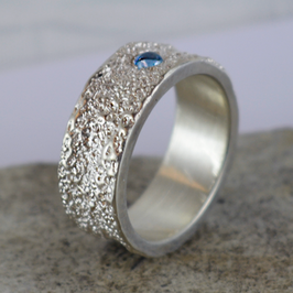 Silber-Ring mit Aquamarin Cabachon