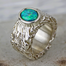 Silber Opalring mit lebendiger Struktur