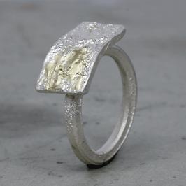 Feiner Silber-Ring mit Ossa Sepia Struktur und Gelbgold