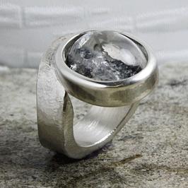 Silber-Ring Sandguss mit Bergkristall 217103