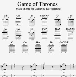"""Game of Thrones Theme"" fingerstyle guitar arrangement - transcription"